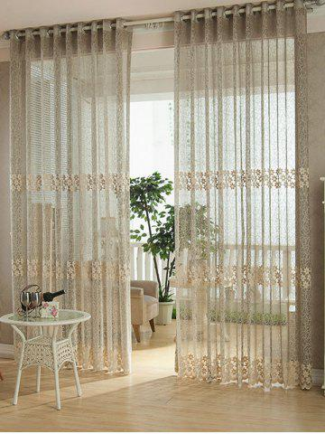 Fashion Flower Embroidery Sheer Grommet Top Tulle Curtain LIGHT COFFEE 100*250CM
