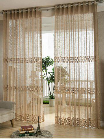 Shops Flower Embroidery Sheer Grommet Top Tulle Curtain COFFEE BROWN 100*250CM