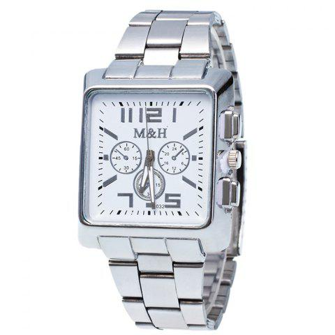 Outfits Metallic Strap Square Analog Watch WHITE