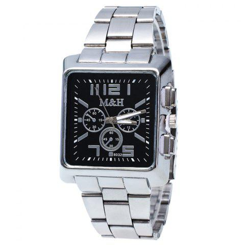 Fancy Metallic Strap Square Analog Watch BLACK