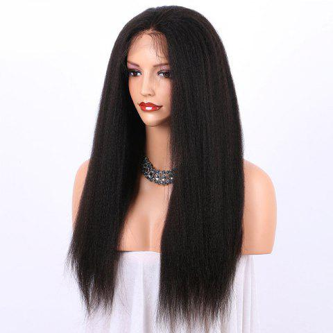 Trendy Long Yaki Straight Lace Frontal Synthetic Wig - BLACK  Mobile