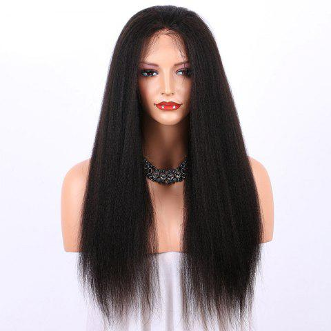 New Long Yaki Straight Lace Frontal Synthetic Wig - BLACK  Mobile
