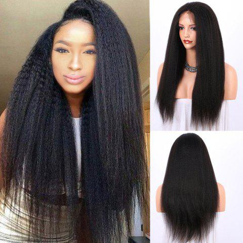 Outfits Long Yaki Straight Lace Frontal Synthetic Wig BLACK