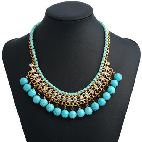Bohemian Artificial Turquoise Beads Necklace - Turquoise Blue - 40