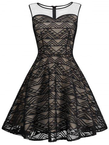 Mesh Panel Skater Homecoming Formal Dress - Black - Xl