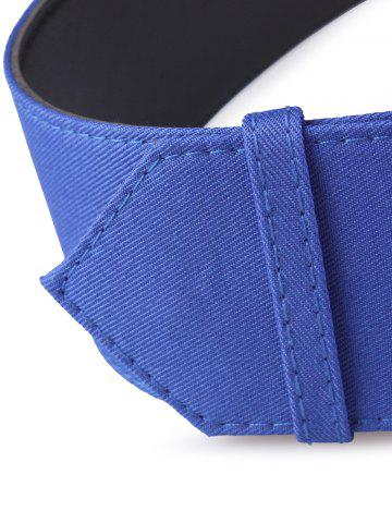 Best Fabric Panel Adjustable Extra Wide PU Leather Belt - BLUE  Mobile