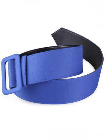 Unique Fabric Panel Adjustable Extra Wide PU Leather Belt - BLUE  Mobile