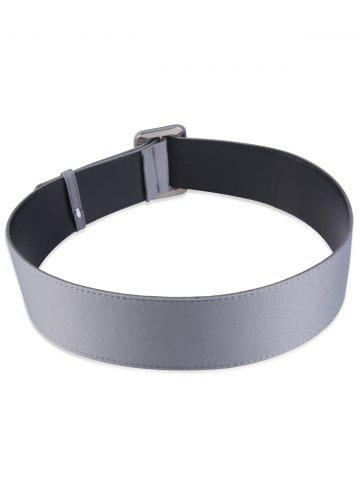 Buy Fabric Panel Adjustable Extra Wide PU Leather Belt - GRAY  Mobile