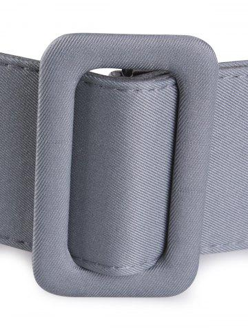 Unique Fabric Panel Adjustable Extra Wide PU Leather Belt - GRAY  Mobile