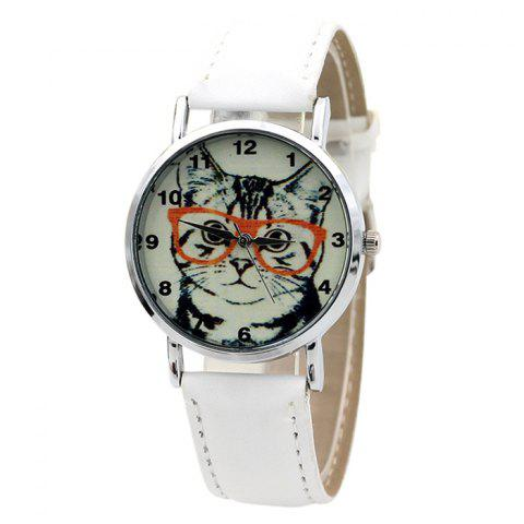 Chic Cat In Glasses Number Analog Watch WHITE
