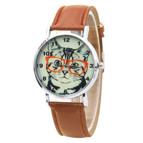 Cat In Glasses Number Analog Watch - Light Brown