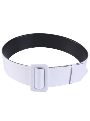 Fabric Panel Adjustable Extra Wide PU Leather Belt - White - 5xl