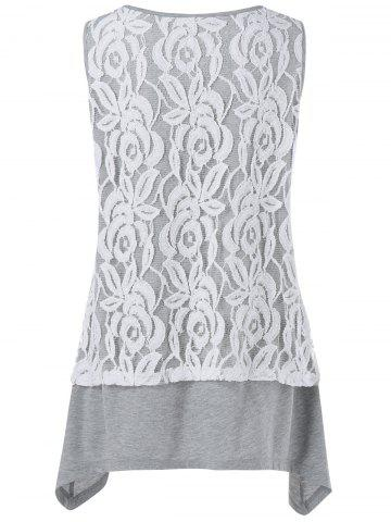Affordable Plus Size Lace Trim Aymmetrical Tank Top - 2XL GREY AND WHITE Mobile
