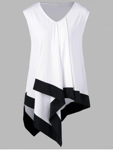 Best Plus Size Asymmetrical Longline V Neck T-Shirt - 2XL WHITE AND BLACK Mobile