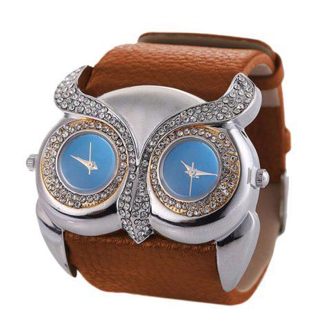 Best Rhinestone Owl Double Movement Analog Watch BROWN