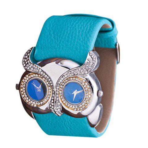 Cheap Rhinestone Owl Double Movement Analog Watch AZURE