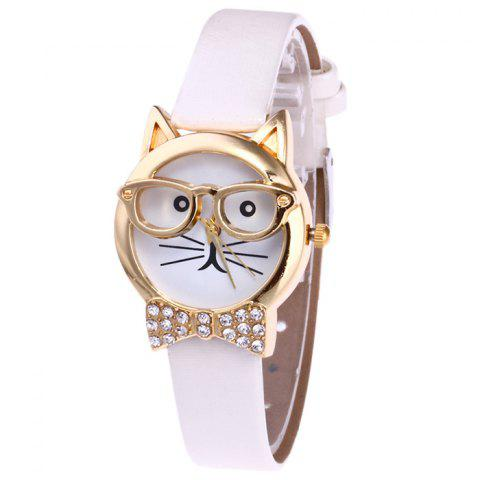 Online Rhinestone Cat With Glasses Analog Watch WHITE