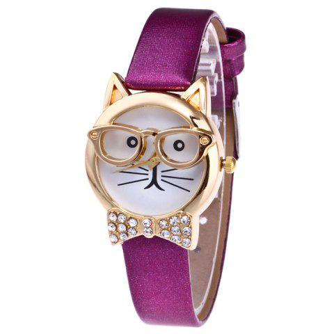 Rhinestone Cat With Glasses Analog Watch - Purple