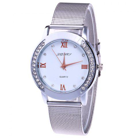 Unique Steel Mesh Band Rhinestone Analog Watch