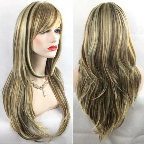 Unique Adiors Long Slightly Curly Side Bang Party Synthetic Wig