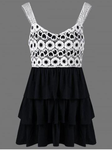 Online Lace Crochet Plus Size Babydoll Tank Tops WHITE AND BLACK XL