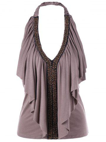 Affordable Halter Beaded Ruffle Top LIGHT COFFEE XL