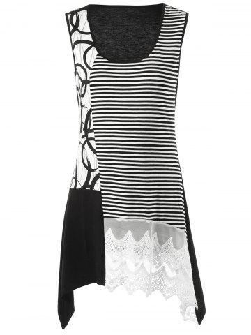 Discount Striped Lace Insert Tunic Tank Top
