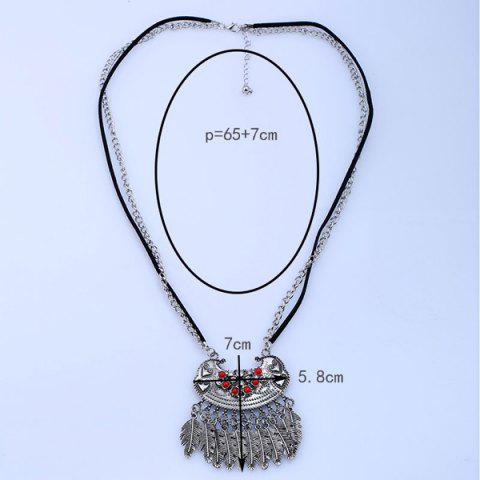 Trendy Ethnic Rhinestone Beaded Engraved Fringed Sweater Chian - SILVER  Mobile