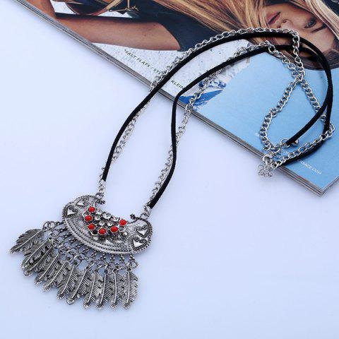 Sale Ethnic Rhinestone Beaded Engraved Fringed Sweater Chian - SILVER  Mobile