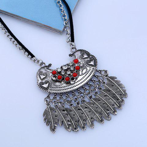 Chic Ethnic Rhinestone Beaded Engraved Fringed Sweater Chian - SILVER  Mobile