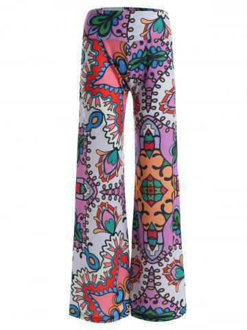 New High Rise Allover Print Wide Leg Palazzo Pants