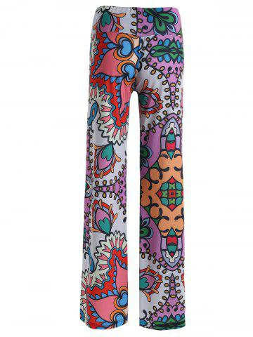 Trendy High Rise Allover Print Wide Leg Palazzo Pants - 2XL COLORMIX Mobile