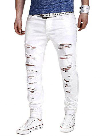 Affordable Zipper Fly Slimming Narrow Feet Distressed Pants WHITE L