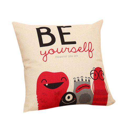 Fashion Cartoon Letters Decorative Linen Pillowcase - RED  Mobile