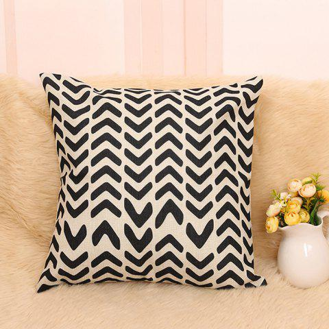 Buy Letter V Sofa Decorative Linen Pillowcase - BLACK  Mobile