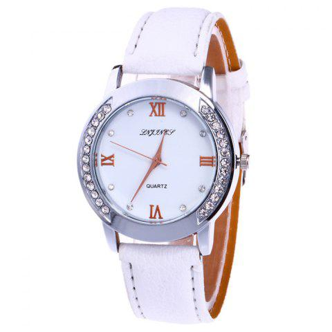 Cheap Rhinestone Faux Leather Strap Analog Watch