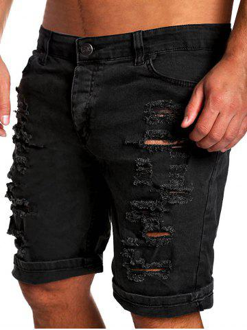 Store Zipper Fly Straight Leg Distressed Shorts - BLACK XL Mobile