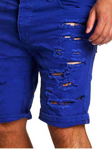 Store Zipper Fly Straight Leg Distressed Shorts - SAPPHIRE BLUE XL Mobile