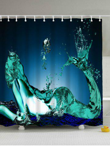 Shop Mermaid Water Drop Print Waterproof Shower Curtain - 180*200CM BLUE Mobile