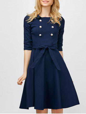 Double Breasted Belted Dress Vintage Azuré S