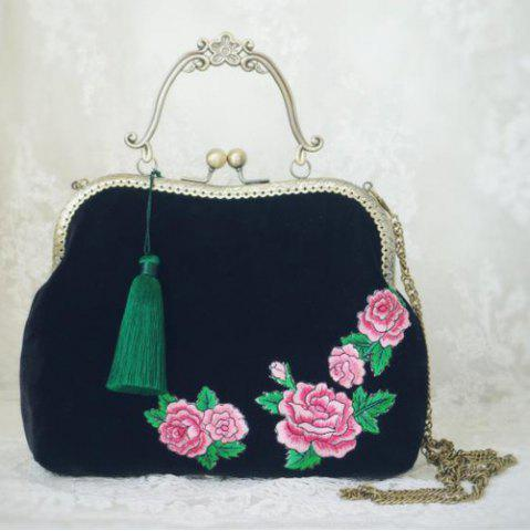 Online Peony Embroidered Kiss Lock Handbag BLACK