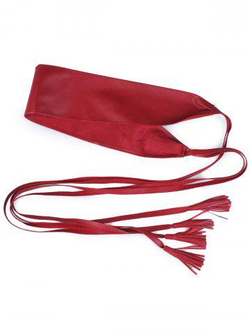Discount Long Tail Extra Wide Leather Belt with Tassel - WINE RED  Mobile