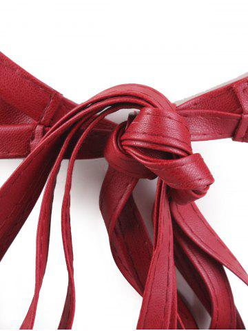 Fancy Long Tail Extra Wide Leather Belt with Tassel - WINE RED  Mobile