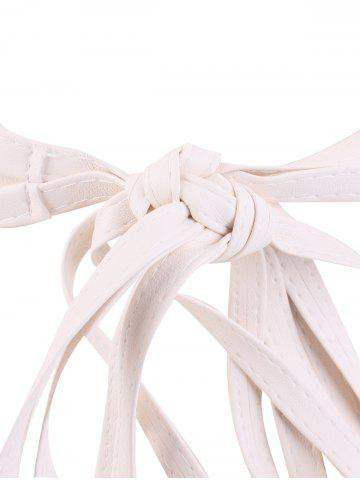 Online Long Tail Extra Wide Leather Belt with Tassel - WHITE  Mobile
