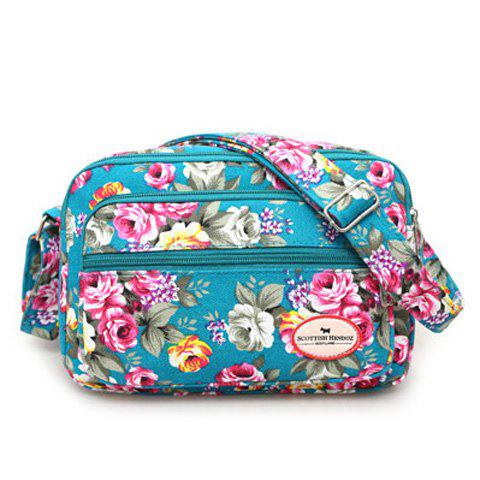 Online Canvas Flower Printed Colour Block Crossbody Bag BLUE GREEN