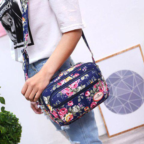 Outfit Canvas Flower Printed Colour Block Crossbody Bag - CERULEAN  Mobile