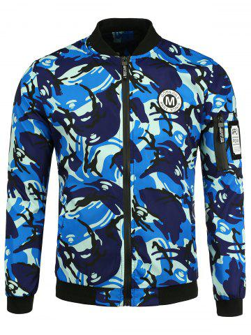 Latest Patch Camo Jacket with Pocket Detail - S BLUE Mobile