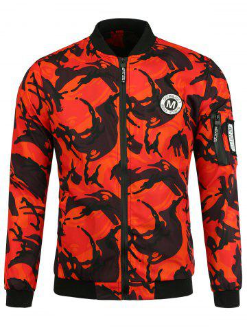 Sale Patch Camo Jacket with Pocket Detail - S ORANGE RED Mobile