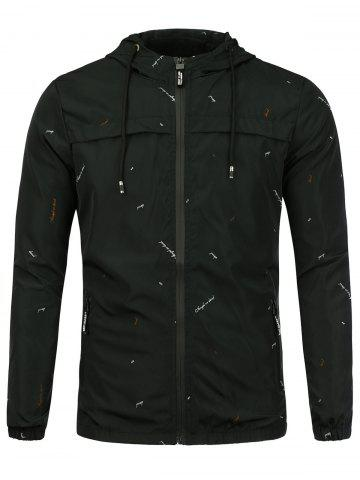 New Graphic Print Hooded Wind Jacket