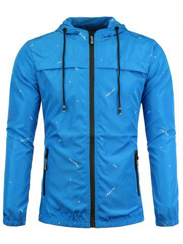 Shop Graphic Print Hooded Wind Jacket - S BLUE Mobile